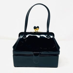 Judith Leiber Black Patent Leather Mini Bag